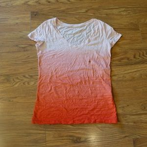 New York & Co Ombre Melon Coral Slub T-Shirt